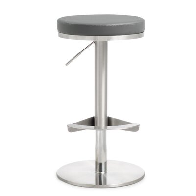 Aliyah Adjustable Height Swivel Bar Stool Upholstery: Gray