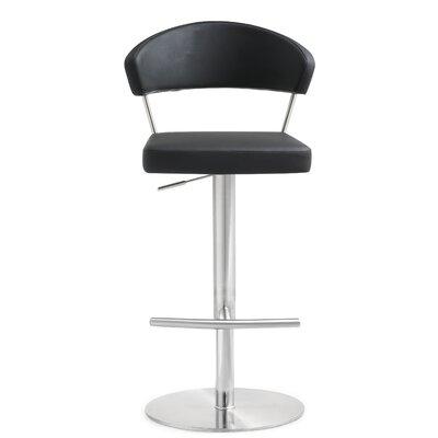 Mcghee Adjustable Height Swivel Bar Stool Upholstery: Black