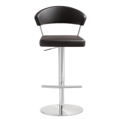 Mcghee Adjustable Height Swivel Bar Stool Upholstery: Brown