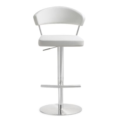 Mcghee Adjustable Height Swivel Bar Stool Upholstery: White