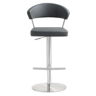 Mcghee Adjustable Height Swivel Bar Stool Upholstery: Gray