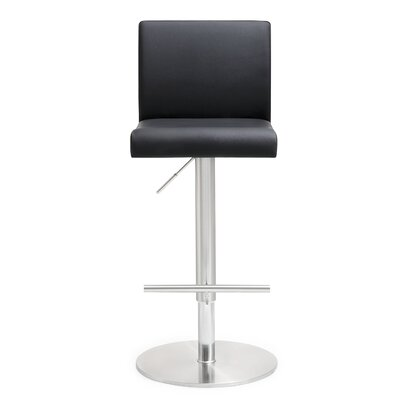 Kiara Adjustable Height Swivel Bar Stool Upholstery: Black