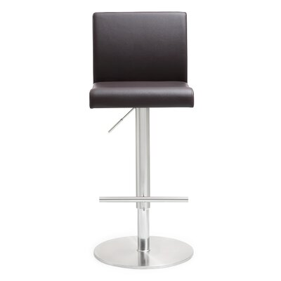 Kiara Adjustable Height Swivel Bar Stool Upholstery: Brown