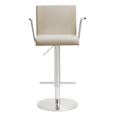 Kiara Adjustable Height Swivel Bar Stool Upholstery: Taupe