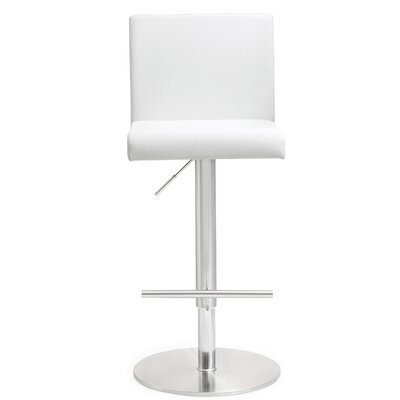 Kiara Adjustable Height Swivel Bar Stool Upholstery: White