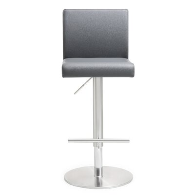 Kiara Adjustable Height Swivel Bar Stool Upholstery: Gray