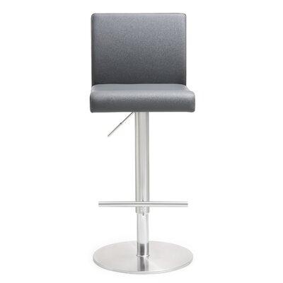 Kiara Adjustable Height Swivel Bar Stool Upholstery: Gray