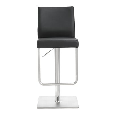 Carly Adjustable Height Swivel Bar Stool Upholstery: Black
