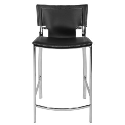 "Hayley 26"" Bar Stool (Set of 2) Upholstery: Black"