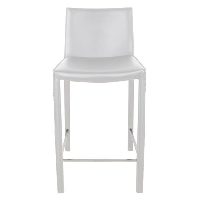 "Brompton 26"" Bar Stool (Set of 2) Upholstery: White"