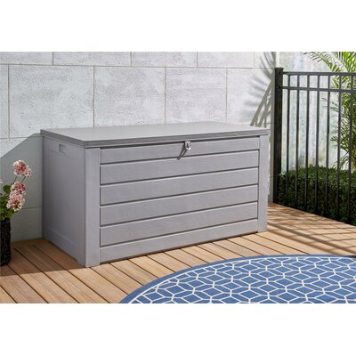 180 Gallon Metal and Plastic Deck Box Color: Gray