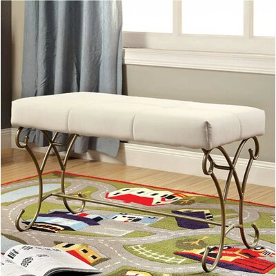 Wellman Upholstered Bench Color: Champagne/White