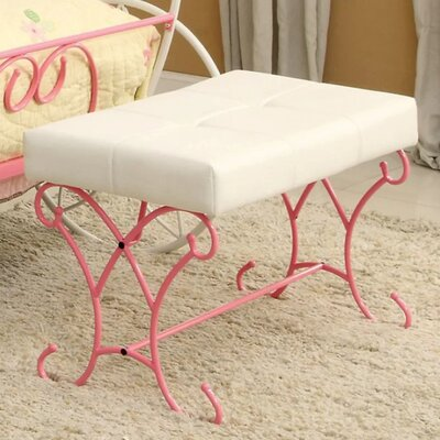 Wellman Upholstered Bench Color: Pink/White