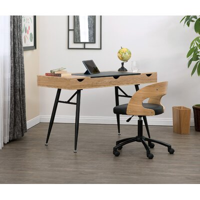 Nook Multi Storage Desk Color (Top/Frame): Ashwood/Black