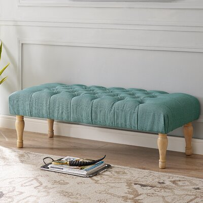 Huang Upholstered Bench Upholstery: Blue