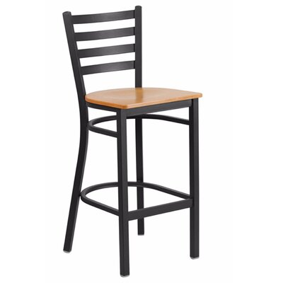 "Spring Street 29"" Bar Stool Seat Color: Black/Yellow"