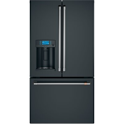 22.2 cu. ft. Counter-Depth French-Door Refrigerator with Hot Water Dispenser Finish: Matte Black