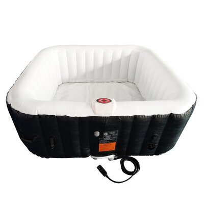 Square Hot Tub 6-Person 130-Jet Inflatable Plug and Play Spa with Cover Finish: Black/White