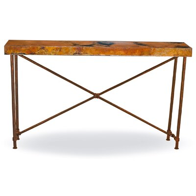 """Del Console Table Size: 33.5"""" H x 60"""" W x 14"""" D, Table Base Color: Aged Bronze"""