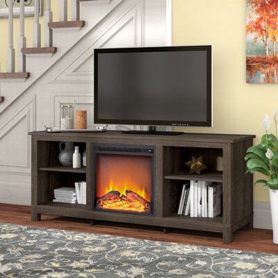 """Gaither 58"""" TV Stand with Fireplace Finish: Brown Oak"""