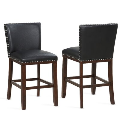 "Millwright 24"" Bar Stool (Set of 2) Color: Black"