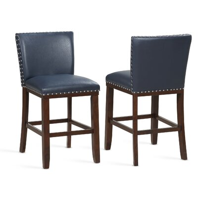 "Millwright 24"" Bar Stool (Set of 2) Color: Navy"