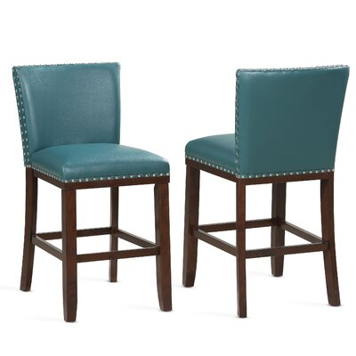 "Millwright 24"" Bar Stool (Set of 2) Color: Peacock"