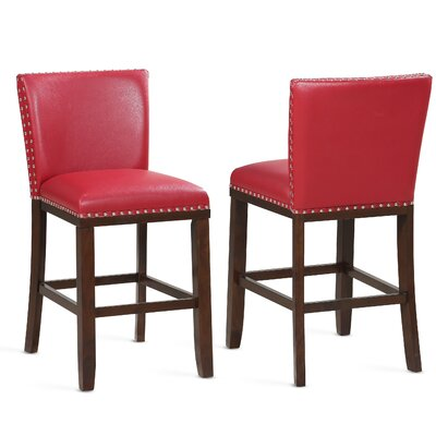 "Millwright 24"" Bar Stool (Set of 2) Color: Red"