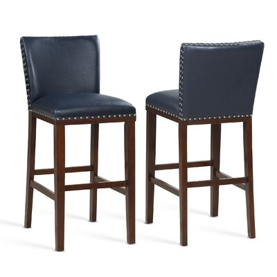 """Millwright 30"""" Bar Stool (Set of 2) Color: Navy"""