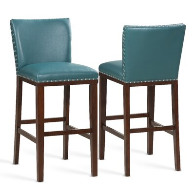 """Millwright 30"""" Bar Stool (Set of 2) Color: Peacock"""