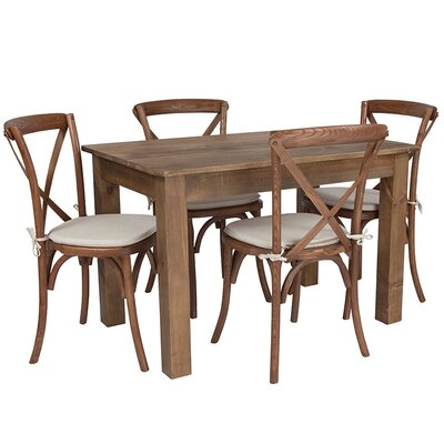 "Bronwen Farm 5 Piece Dining Set Table Top Size: 30"" H x 46"" W x 30"" D"