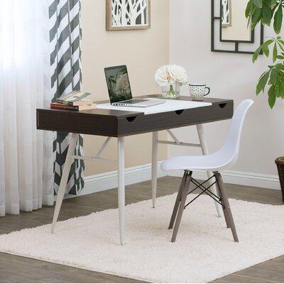 Nook Multi Storage Desk Color (Top/Frame): Dark Walnut/White