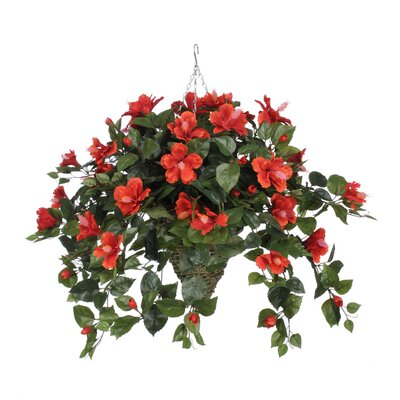 Faux Hibiscus Trailing Hanging Flowering Plant in Planter Flower Color: Red