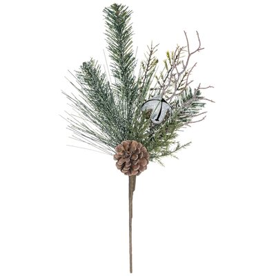 Flocked Pine and Bells Pick Foliage Plant (Set of 4)