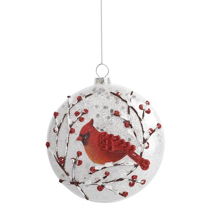 Frosted Bird Ball Ornament