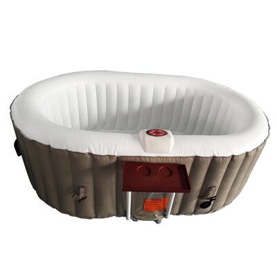 Oval Hot Tub 2-Person 130-Jet Inflatable Plug and Play Spa Finish: Brown