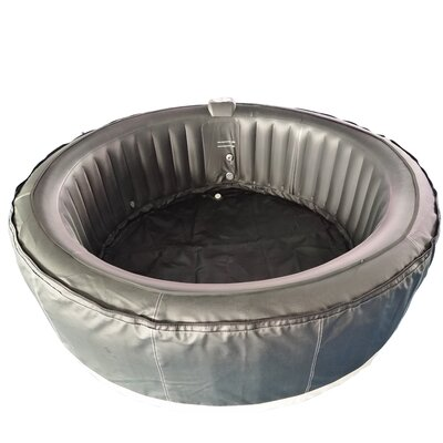 Round Hot Tub 4-Person 130-Jet Inflatable Plug and Play Spa Finish: Black