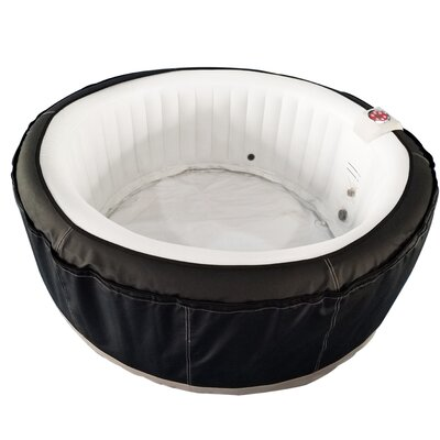 Round Hot Tub 4-Person 130-Jet Inflatable Plug and Play Spa Finish: Black/White