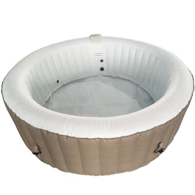 Round Hot Tub 4-Person 130-Jet Inflatable Plug and Play Spa Finish: Brown/White