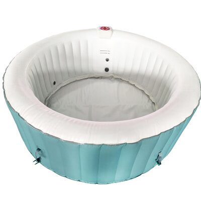 Round Hot Tub 4-Person 130-Jet Inflatable Plug and Play Spa Finish: Light Blue/White