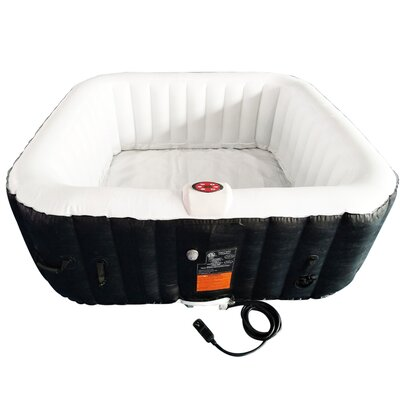 Square Portable Hot Tub 4-Person 130-Jet Inflatable Plug and Play Spa Finish: Brown