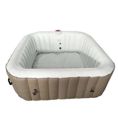 Square Hot Tub 6-Person 130-Jet Inflatable Plug and Play Spa with Cover Finish: Brown/White