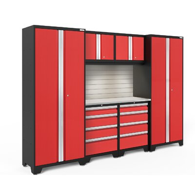 Bold 3.0 7 Piece Complete Storage System Worktop Material: Bamboo, Lighting: No Light, Finish: Red