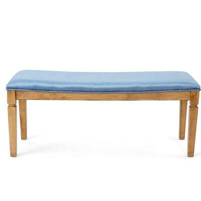 Vanhorn Wood Bench Upholstery: Icy Blue