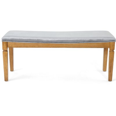 Vanhorn Wood Bench Upholstery: Pewter
