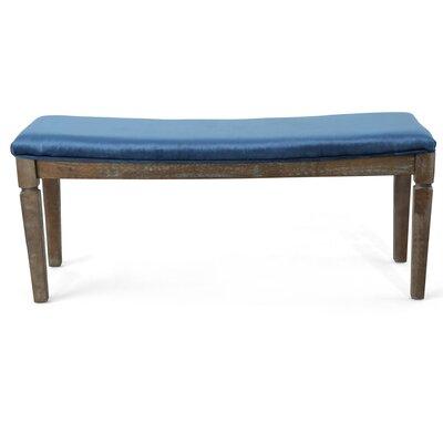 Merriweather Wood Bench Upholstery: Cobalt