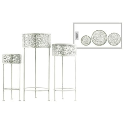 Dowen Pierced Round Metal 3 Piece Plant Stand Set Color: White
