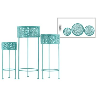 Dowen Pierced Round Metal 3 Piece Plant Stand Set Color: Blue