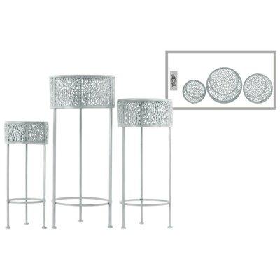 Dowen Pierced Round Metal 3 Piece Plant Stand Set Color: Gray