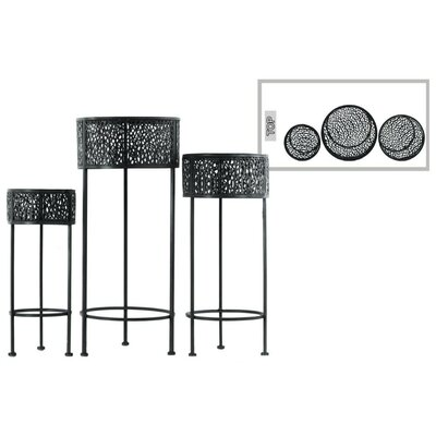 Dowen Pierced Round Metal 3 Piece Plant Stand Set Color: Black